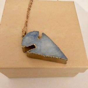 Blue Arrowhead Necklace - trimmed in Gold